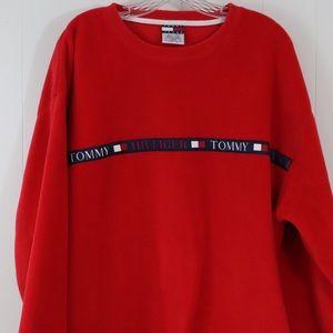 Vintage Tommy Hilfiger red fleece men's shirt XL